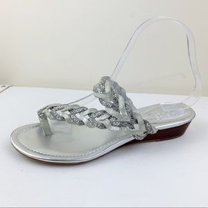 Vince Camuto Imora Toe Loop Sparkly Silver Wedges